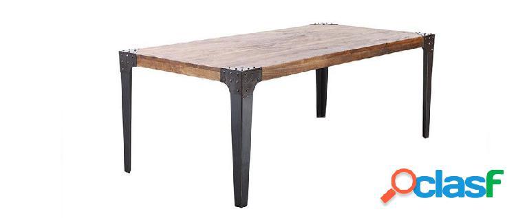 Tavolo da pranzo di stile industriale in acciaio e legno