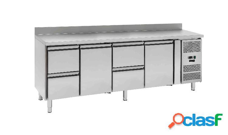 Tavolo frigo - 2 porte e 4 cassetti - alzatina - Prof. 700