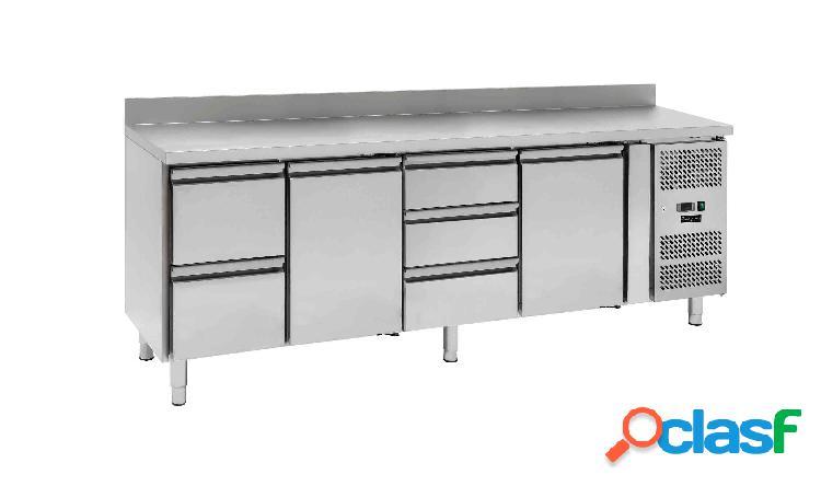 Tavolo frigo - 2 porte e 5 cassetti - alzatina - Prof. 700
