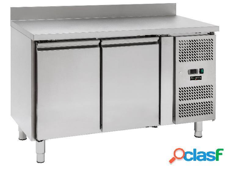 Tavolo frigo per gastronomia con 2 porte e alzatina,