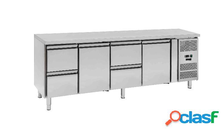 Tavolo refrigerato - 2 porte e 4 cassetti - Prof. 700 -