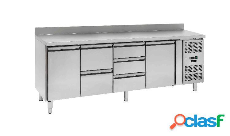 Tavolo refrigerato - 2 porte e 5 cassetti - alzatina - Prof.
