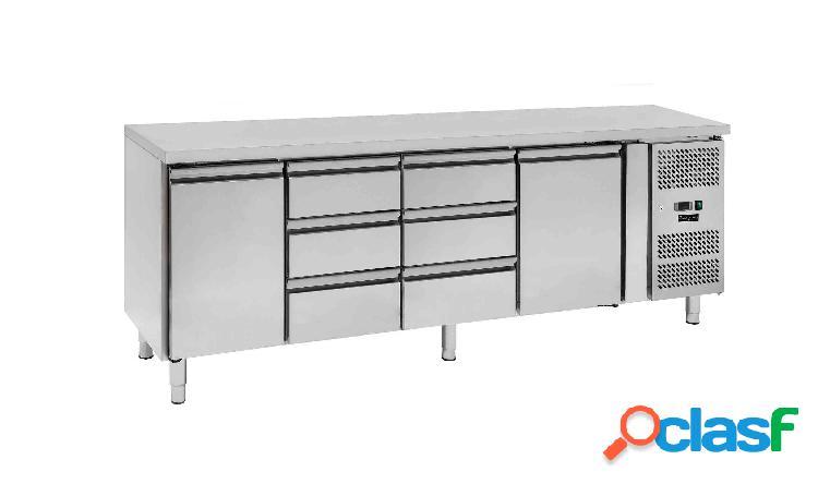 Tavolo refrigerato - 2 porte e 6 cassetti - Prof. 700 -