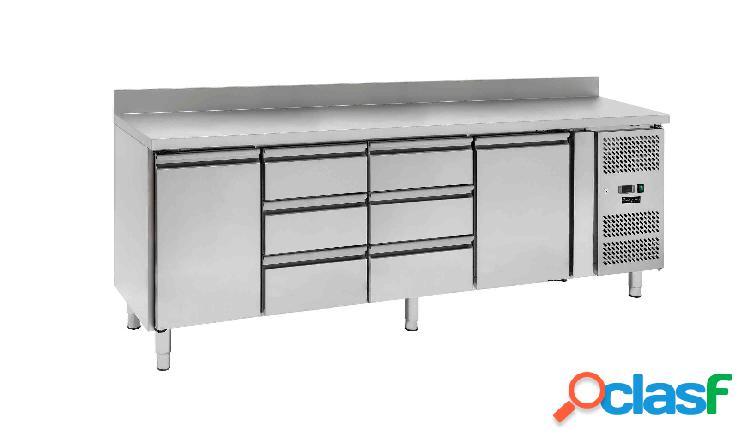 Tavolo refrigerato - 2 porte e 6 cassetti - alzatina - Prof.