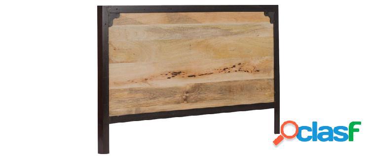 Testata da letto in metallo e legno di mango INDUSTRIA