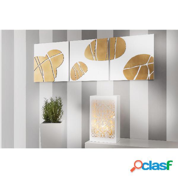 Tris Pannelli da parete in legno fondo bianco con foglia oro