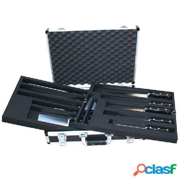 Valigia alluminio e PVC con 12 coltelli forgiati in acciaio