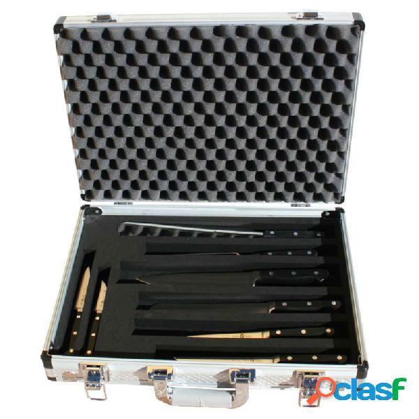 Valigia in alluminio e PVC con 8 coltelli forgiati in