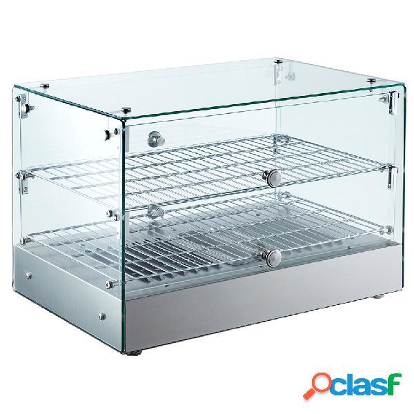 Vetrina riscaldata in vetro e inox - Temp. +30°C e +90°C -