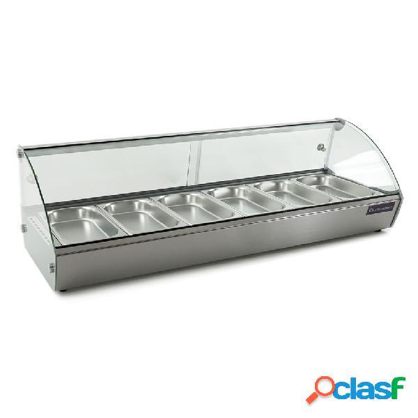Vetrina riscaldata inox e vetro predisposta per 6 bacinelle