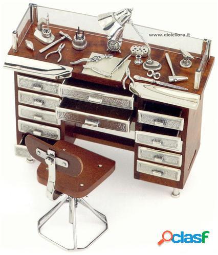 banco orologiaio in argento 925/000 e legno