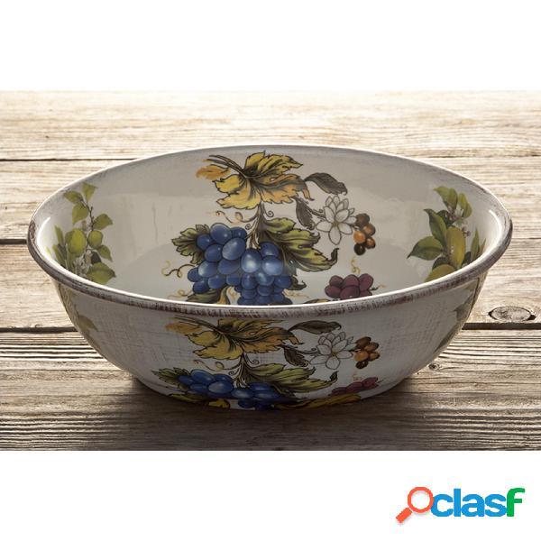 insalatiera Ovale in ceramica Frutta antica 22x22 decoro