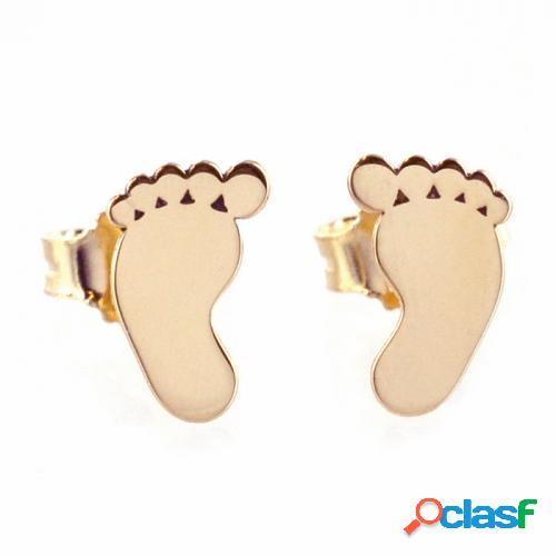 orecchini a forma di piedino di bambino in oro rosa