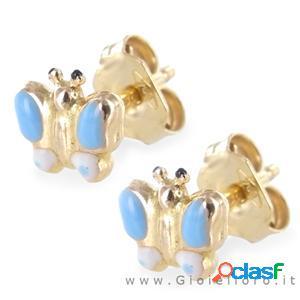 orecchini bambina farfalle in oro giallo e smalti
