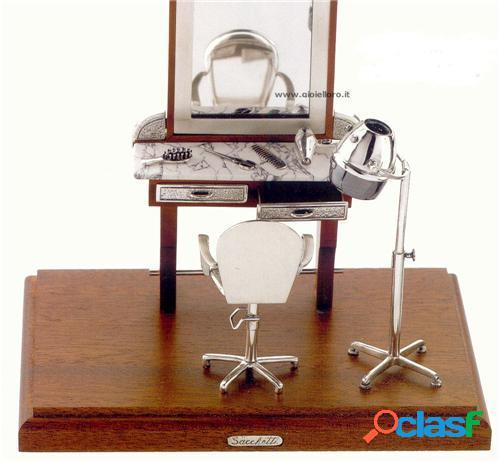 parrucchiera in argento 925/000 e legno
