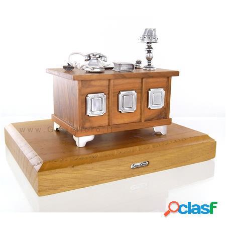 scrivania avvocato in argento 925/000 e legno