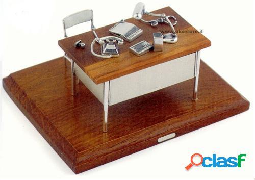scrivania medico in argento 925/000 e legno