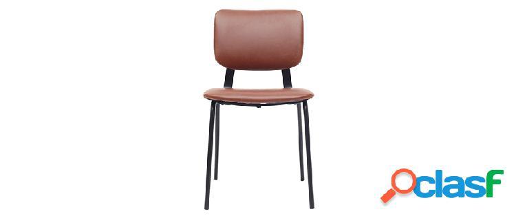 sedie vintage marrone chiaro piedi in metallo (lotto di 2)