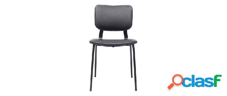 sedie vintage nere con piedi in metallo (lotti di 2) LAB
