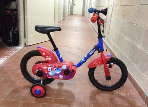 Bici bambino 14 pollici Bâ€(TM)TWIN calipo blu-rosso
