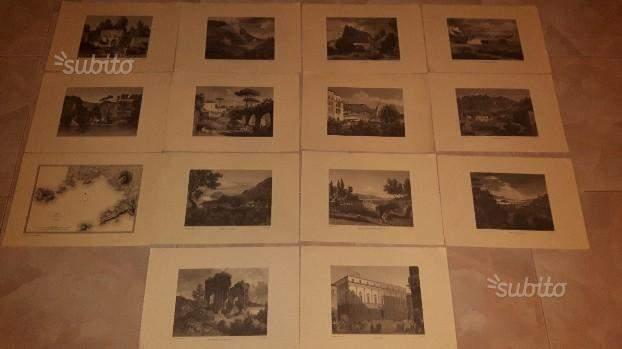 14 litografie/stampe Souvenirs du Golfe de Naples