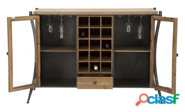 Credenza a Vetri Mobile Porta Vini da Soggiorno Stile