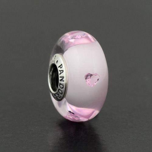 Pandora Charm PCZ Vetro Murano Cuori Rosa