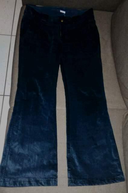 Pantaloni velluto nero a zampa tg. M