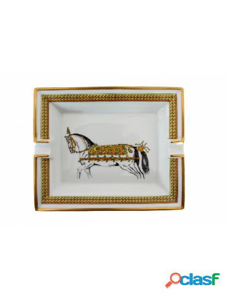 Hermes Posacenere Vintage Porcellana Cavallo Bianco Oro