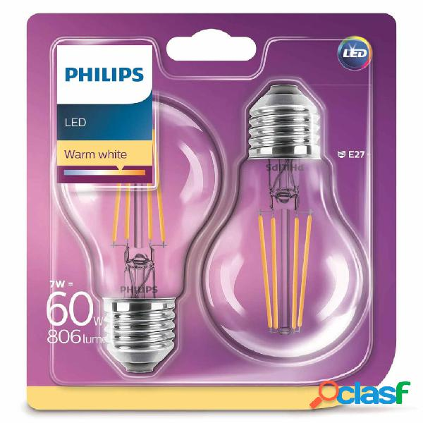 Philips Lampadine LED 2 pz Classic 7 W 806 Lumen