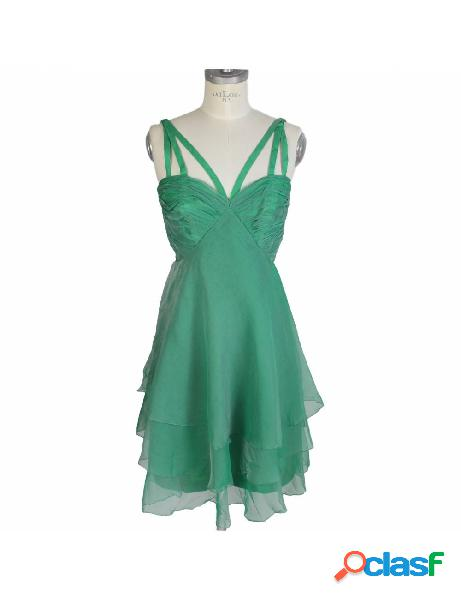 Vestito Vintage Anni 80 Sartoriale Seta Chiffon Verde
