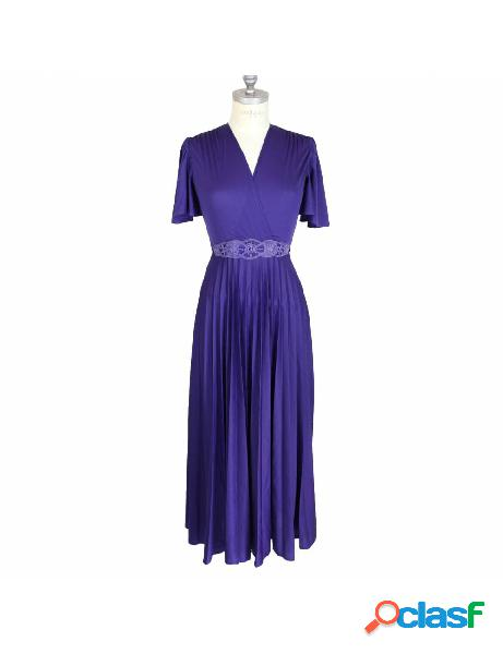 Vestito Vintage Sartoriale da Sera Lungo Viola Anni 80
