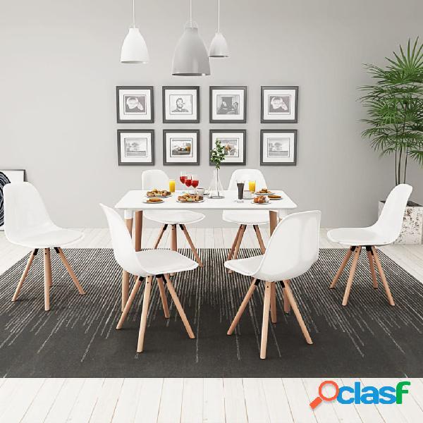 vidaXL 7 Pz Set Tavolo e Sedie Sala da Pranzo Bianco