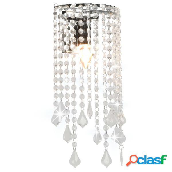 vidaXL Lampada da Muro con Perle di Cristallo Argento