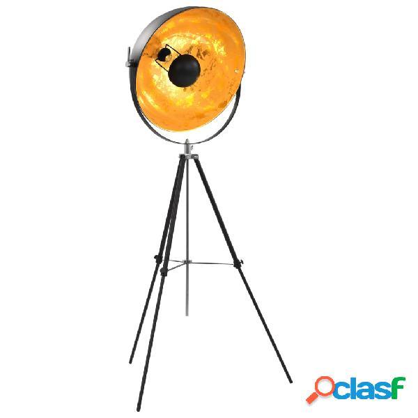 vidaXL Lampada da Terra E27 Nera e Oro 51 cm
