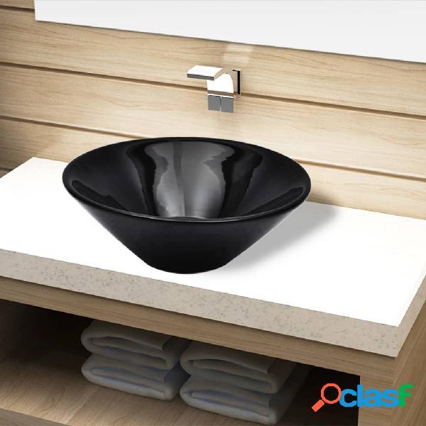 vidaXL Lavandino da bagno in ceramica nera rotondo