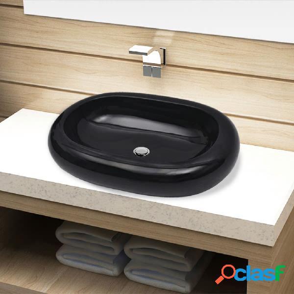 vidaXL Lavandino da bagno in ceramica ovale nero