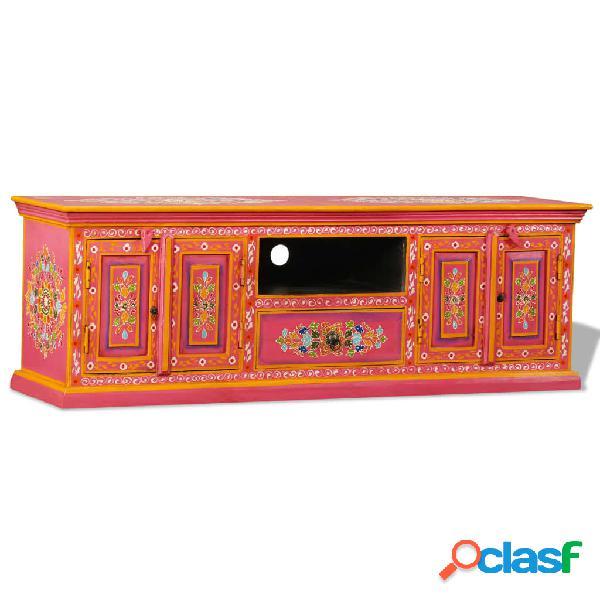 vidaXL Mobile Porta TV in Legno Massello di Mango Rosa