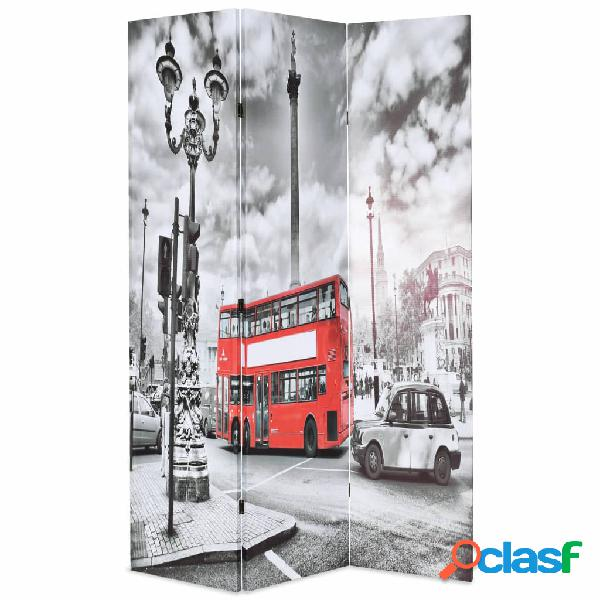 vidaXL Paravento Pieghevole 120x170 cm Stampa Bus Londra