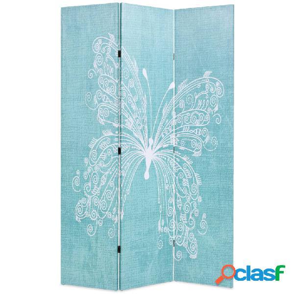 vidaXL Paravento Pieghevole 120x170 cm Stampa Farfalla Blu