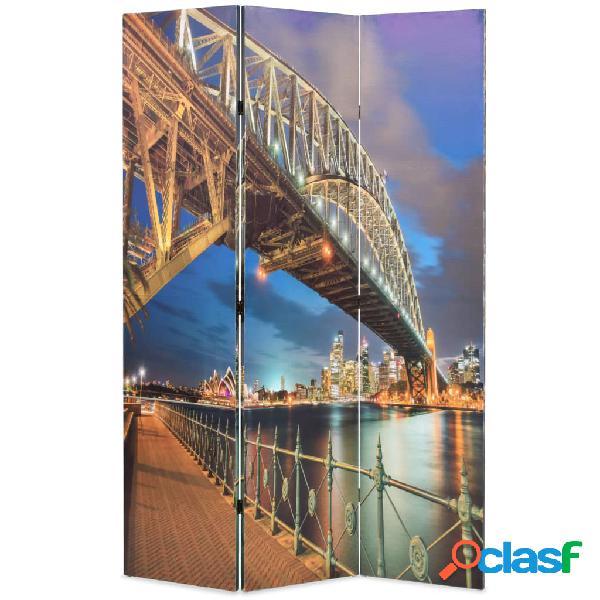 vidaXL Paravento Pieghevole 120x170 cm Stampa Harbour Bridge