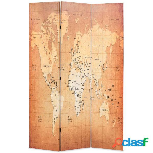 vidaXL Paravento Pieghevole 120x170 cm Stampa Mappa del