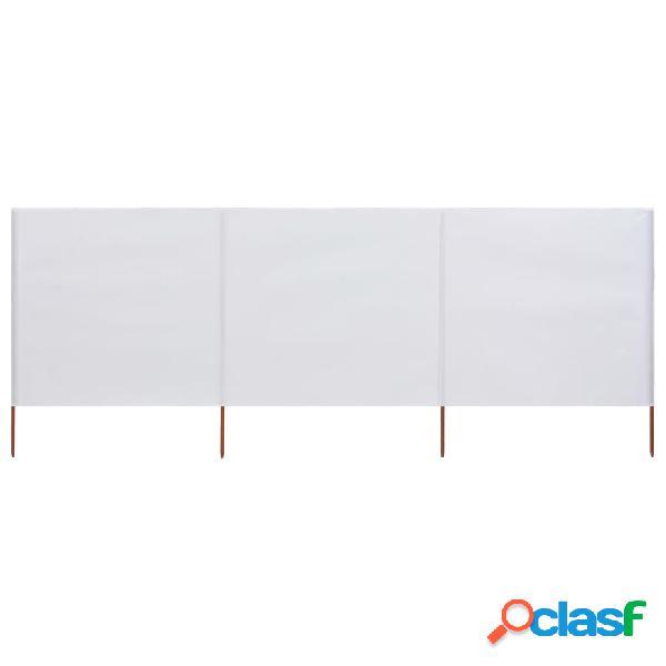 vidaXL Paravento a 3 Pannelli in Tessuto 400x80 cm Bianco