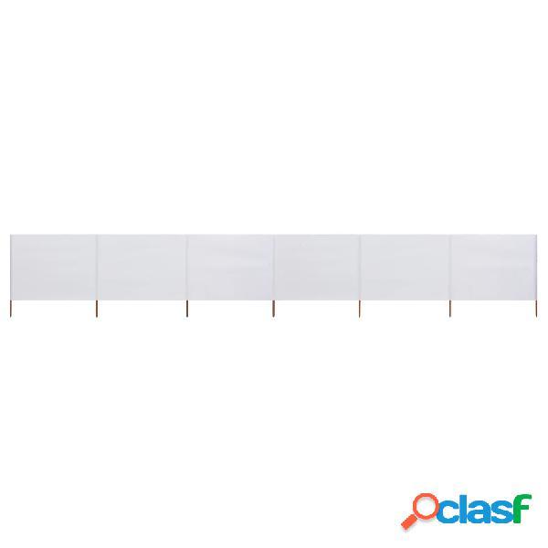 vidaXL Paravento a 6 Pannelli in Tessuto 800x120 cm Bianco