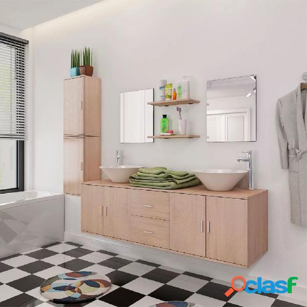 vidaXL Set 11 Mobili per bagno con lavandino con rubinetto