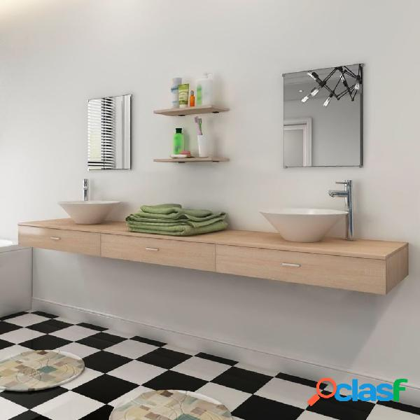 vidaXL Set 7 pz Mobili da bagno e lavandino beige