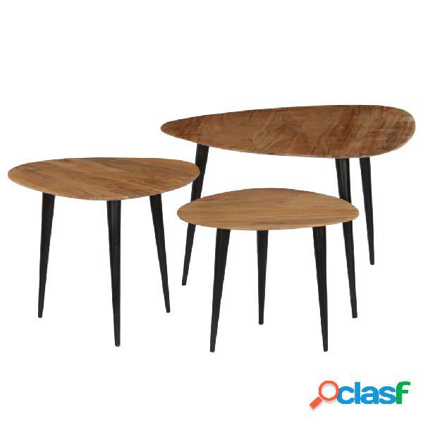vidaXL Set Tavolini da Caffè 3 pz in Legno Massello