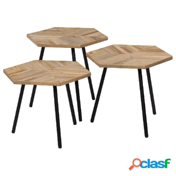 vidaXL Set Tavolino da Caffè 3 pz in Legno di Teak