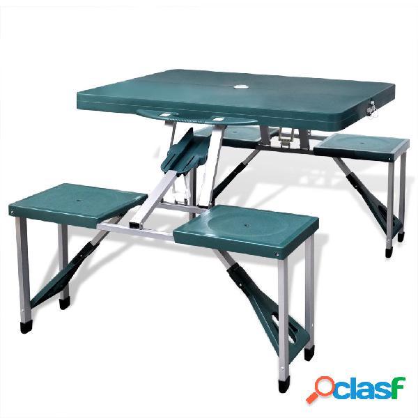 vidaXL Set Tavolo da Campeggio con 4 Sedie in Alluminio