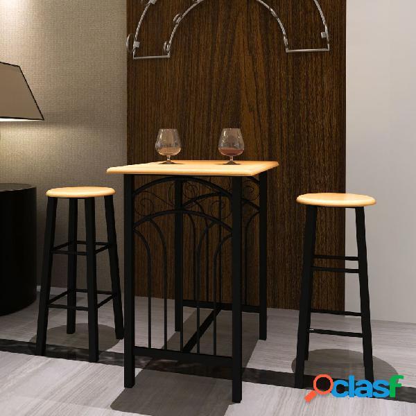 vidaXL Set Tavolo da Pranzo / Bar e Sedie in Legno e Acciaio